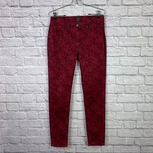JAG Jeans Red Plaid Skinny Pant 4 Stretch